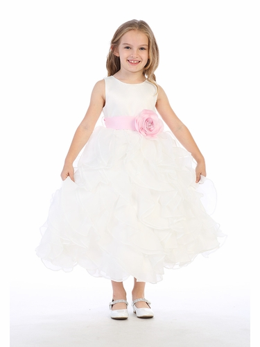 Blossom BL305 White Layered Flower Girl Dress w/ Satin Flower Sash