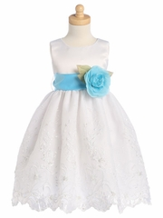 White Blossom Satin Bodice & Embroidered Organza Skirt Detachable Sash