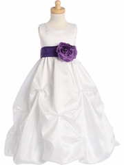 Blossom White Shantung Organza Dress w/Detachable Sash & Flower