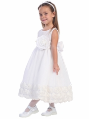 Blossom White Tulle Dress w/ Floral Ribbon Edge & Detachable Sash & Flower