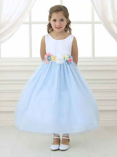 White & Blue Tulle Dress w/ Multi-Color Flower Waistband