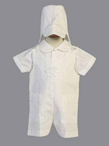 Boy's White Cotton Romper w/ Cross Applique