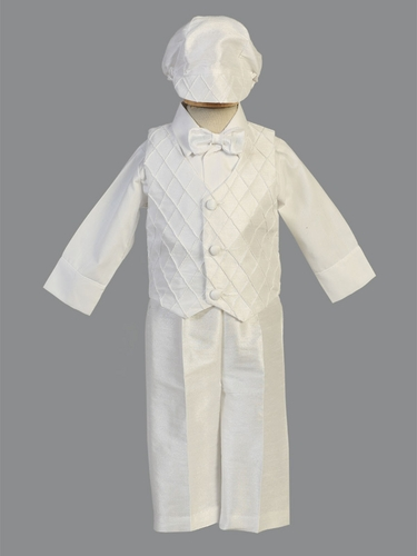 Boy's White Pintuck Poly Silk Vest & Pant