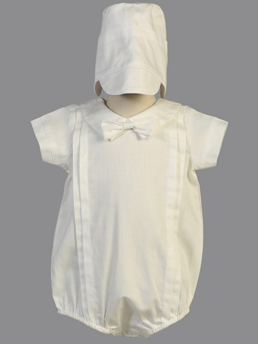Boys' White Christening Cotton Short Romper