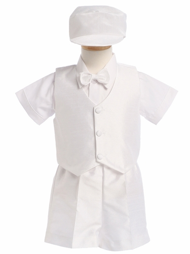 White Boys Poly Silk Vest & Shorts w/Hat