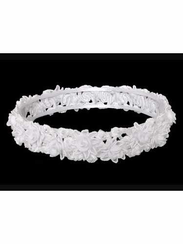 White Bridal Communion Hair Wreath Headpiece