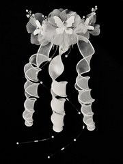 White Butterfly Hair Comb w/ Dangling Pearled Ribbon