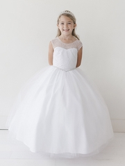 White Cap Sleeve Beaded Sequin Tulle Dress