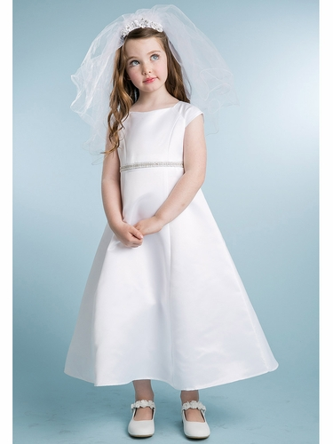 White Cap Sleeve Dress w/ Embellished Waistband