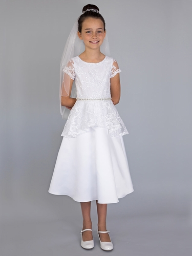 US Angels White Cap Sleeve Lace Bodice Peplum Dress