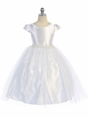 White Cap Sleeve Satin Bodice w/ Polka Dot Tulle Skirt & Beaded Waistline