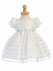 White Cap Sleeve Striped Organza Dress