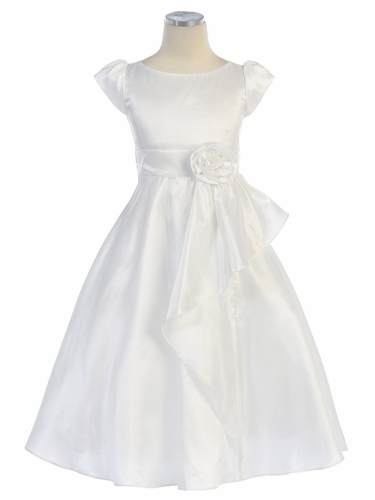 White Cap Sleeve Taffeta Dress w/ Front Cascade Ruffle