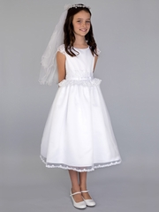 CLEARANCE - US Angels  White Cap Sleeve w/ Lace Inset Waist & Full Skirt
