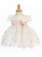 White Cap Sleeved Organza Dress w/ Polka Dot Embroidery & Pink Sash