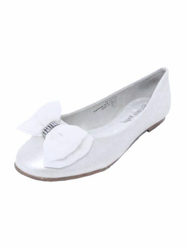 White Chiffon Bow Rhinestone Girls Dress Shoe