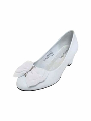 White Chiffon Bow Rhinestone Wedge Shoe