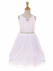 White Chiffon Pleated Pearl Belt Dress