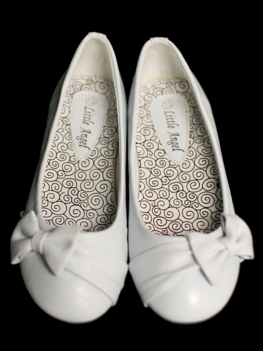Childrens White Flat Shoes W Bow