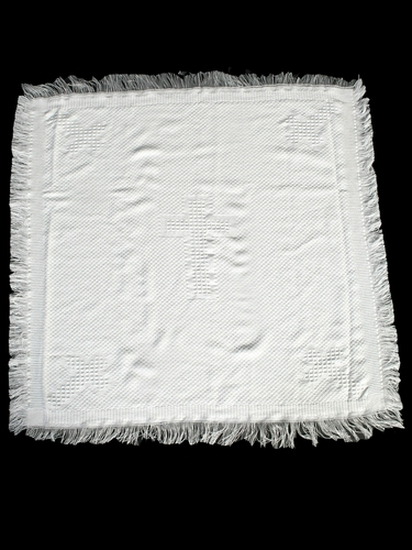 White Christening Blanket w/Cross Designs
