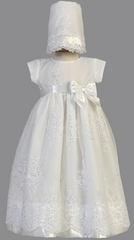 White Christening Embroidered Organza Gown w/ Sequins
