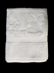 White Christening Towel w/ Embroidered Angel