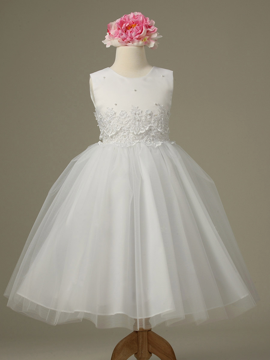 White Flower Girl Dresses with Sleeves