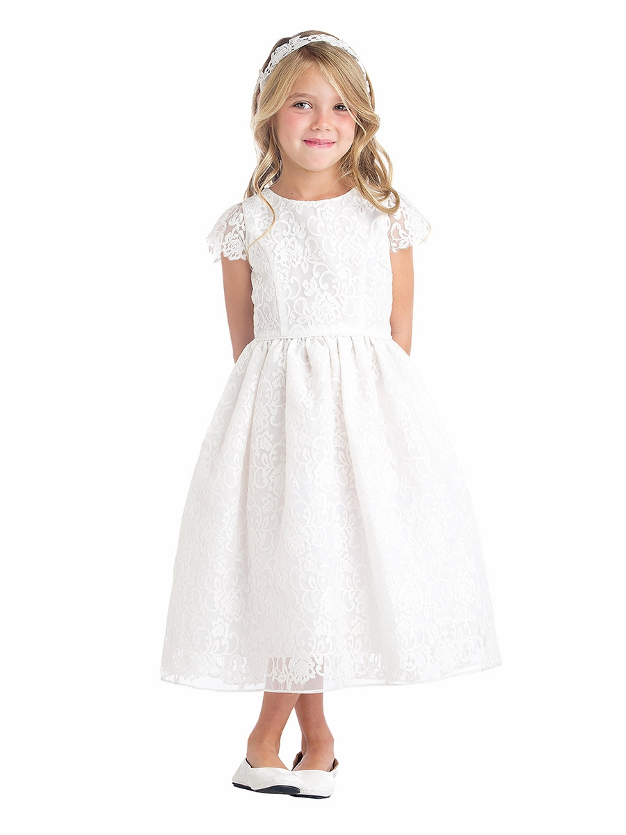 White classic floral embroidered organza dress for Childrens dress fabric