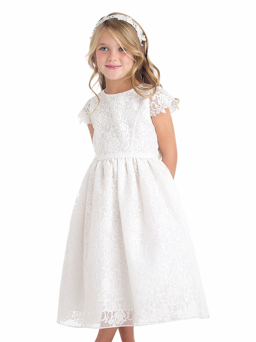 White classic floral embroidered organza dress
