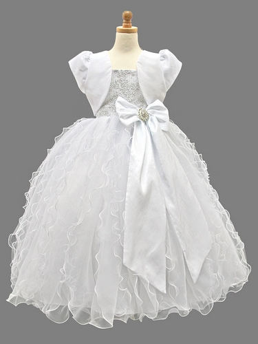 White Communion Dress w/ Silver Floral Bodice & Glitter Ruffle Skirt