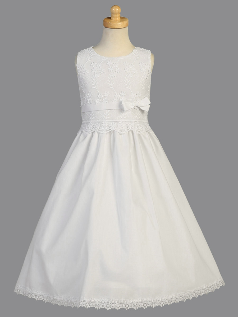 White Communion Embroidered Bodice Cotton Dress