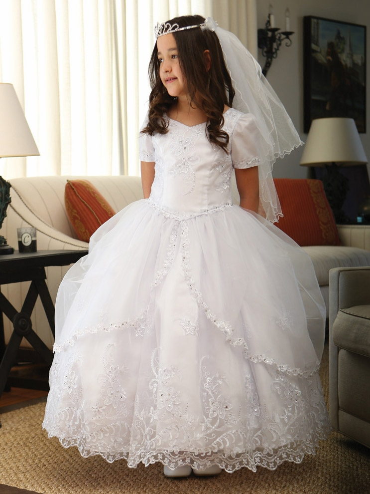 White communion embroidered organza dress w pick up organza overlay mightylinksfo