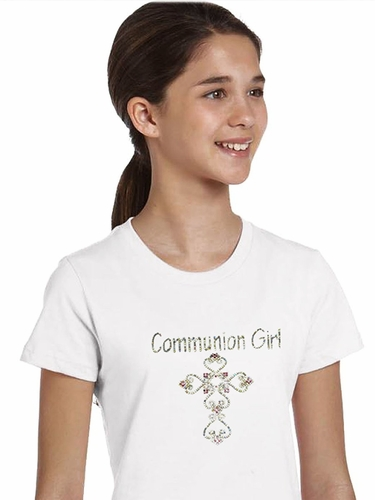 White Communion Girl  Fancy Cross Tee