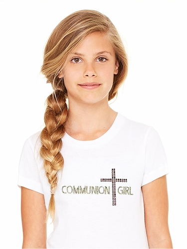 White Communion Girl Tee w/ Pink Cross