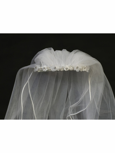 White Communion Headband w/ Organza & Satin Flowers