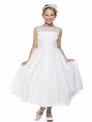 White Communion Organza Dress w/ Pearled Illusion Neckline