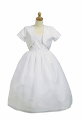 White Communion Pleated Shantung Bodice w/ Bolero & Organza Skirt