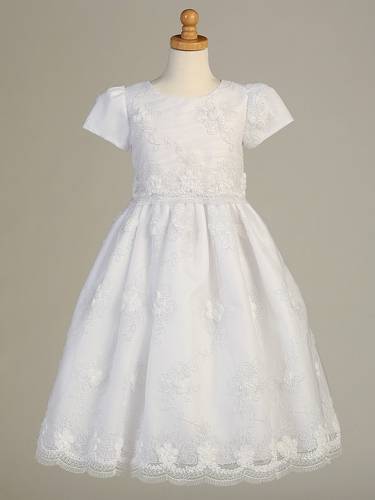 White Cord Embroidered Communion Dress