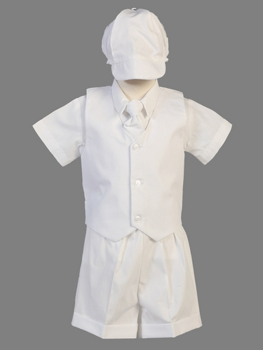 White Cotton Mini Bedford Cord Vest & Shorts Set