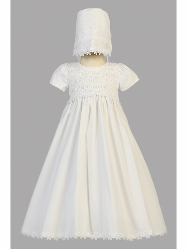 White Cotton Smocked Gown