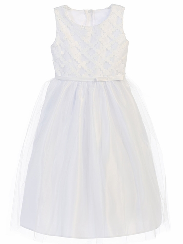 White Cross Hatch Satin w/ Tulle Dress