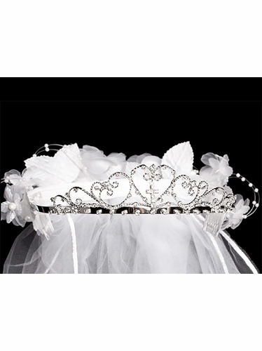 White Cross Tiara w/ Back Flowers & 24''� White Communion Veil