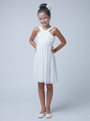 White Crossover Matte Jersey Dress