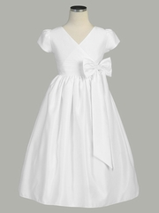 White Crossover Solid Satin w/ Accent Bow