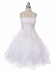 White Crystal Pleated Multi-Layered Petal Dress