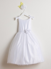 White Double Bow Satin & Tulle Dress