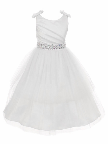 White Double Bow Shoulder Jewel Sash Tulle Dress