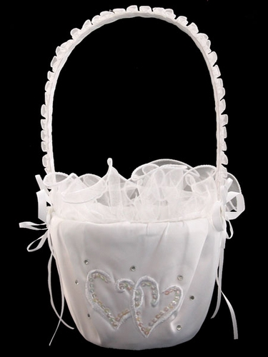White Double Heart Flower Girl Basket