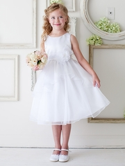 CLEARANCE - White Double Layered Organza Dress w/ Satin Bodice