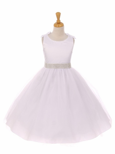 White Double Satin Bow w/ Beaded Trim & Neckline Tulle Dress